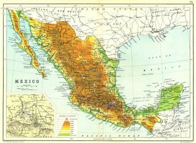 MEXICO. Physical map. Inset map of Mexico City area 1909 old antique chart
