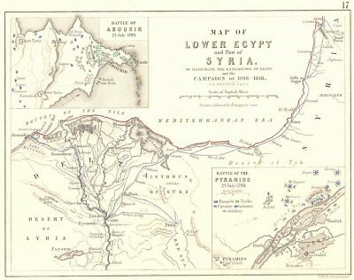 EGYPT CAMPAIGN 1798-1801. Battles of Aboukir 1799 & Pyramids 1798 1848 old map