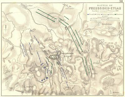BATTLE OF PREUSSISCH-EYLAU. BAGRATIONOVSK. 1807. Russia 1848 old antique map