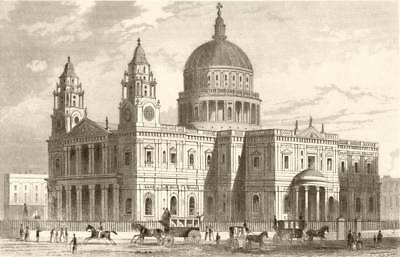 ST PAUL'S CATHEDRAL. Attractive view. London. DUGDALE c1840 old antique print
