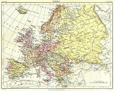 EUROPE. Britannica 9th edition 1898 old antique vintage map plan chart