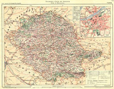 TARN. Département. Inset city town map plan of Albi 1903 old antique chart
