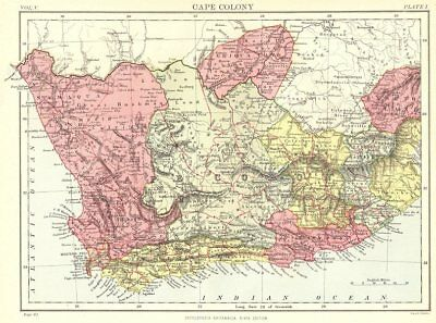 SOUTH AFRICA. Cape Colony. Britannica 9th edition 1898 old antique map chart