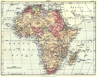 AFRICA. Africa. Britannica 9th edition 1898 old antique vintage map plan chart