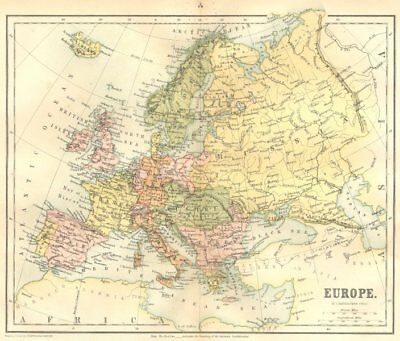 EUROPE. Europe 1864 old antique vintage map plan chart