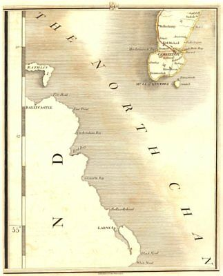 MULL OF KINTYRE. Cambelton. & Ulster. Larne, Ballycastle. CARY 1794 old map