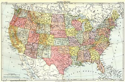 USA. United States. Showing states. Britannica 9th edition 1898 old map
