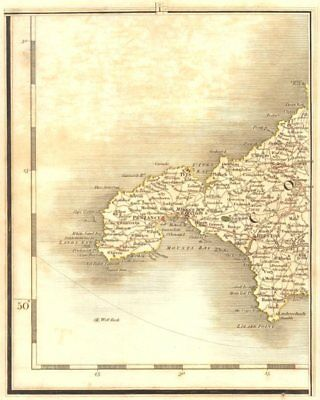 WEST CORNWALL. Penzance St Ives Redruth Camborne Lands End Lizard. CARY 1794 map