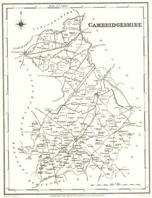 CAMBRIDGESHIRE. Cambs. Lewis 1844 old antique vintage map plan chart