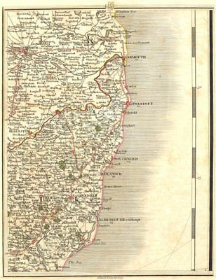 NORFOLK BROADS & SUFFOLK COAST. Norwich Great Yarmouth Lowestoft. CARY 1794 map