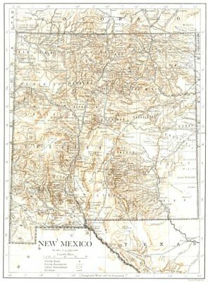NEW MEXICO. New Mexico state map showing counties 1910 old antique chart