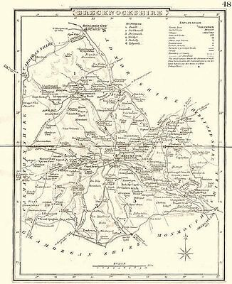 BRECKNOCKSHIRE. County map. Polling places. Coach roads. DUGDALE 1845 old