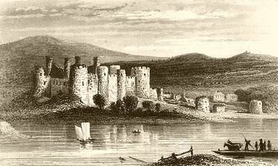 WALES. Conwy Castle. DUGDALE 1845 old antique vintage print picture