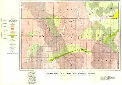 CANADA. Kenogami lake area, Timiskaming district, Ontario. Geological  1922 map