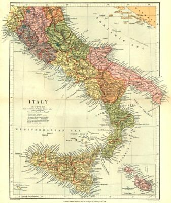 ITALY. Italy (South) ; Inset map of The Maltese Islands. Stanford 1892 old