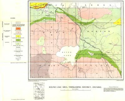 CANADA. Round lake area, Timiskaming district, Ontario. Geological 1922 map