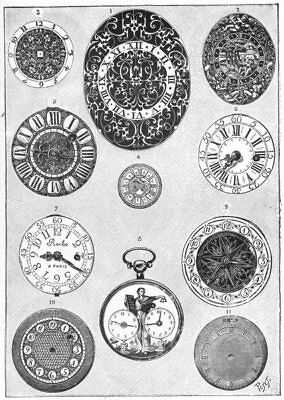 FRENCH WATCHES. Dials of French watches of 16th and 19th Centuries 1907 print