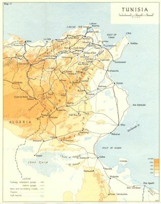 Tunisia in 1942. Operation Torch. World War 2 1966 old vintage map plan chart