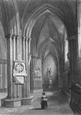 SUSSEX. Chichester Cathedral, Northern Aisle c1842 old antique print picture