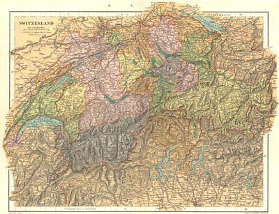 SWITZERLAND. Switzerland. Stanford 1892 old antique vintage map plan chart