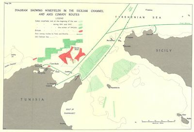 Sicilian channel minefields. Axis convoy routes. 1941-43. World War 2 1966 map