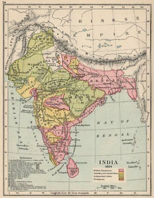 INDIA 1804. British (red) showing dates of cessation. Protected states 1907 map