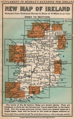 IRELAND. Index map. Murray guide. STANFORD 1908 old antique plan chart