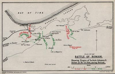FIRST WORLD WAR. Battle of Romani. Egypt. British & Turkish positions 1935 map