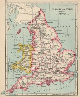 ENGLAND & WALES 1660-1892. Counties & towns 1907 old antique map plan chart