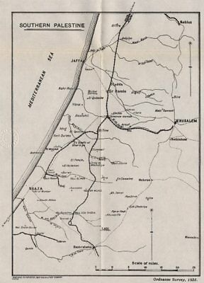FIRST WORLD WAR. Southern Palestine. Railways communications 1935 old map