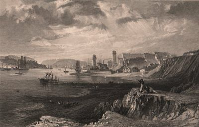 COUNTY DURHAM. North & South Shields, from the rocks near Tynemouth. ALLOM 1839