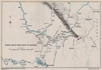 FIRST WORLD WAR. Sketch map of area North of Baghdad. Mesopotamia. Iraq 1935