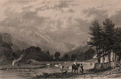 LAKE DISTRICT. Mardale Green, Westmoreland. Cumbria. ALLOM 1839 old print