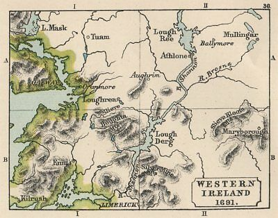 WILLIAMITE WAR 1691. Western Ireland. Aughrim. SMALL. 1907 old antique map