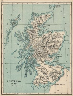 SCOTLAND IN 1285. showing regions & towns 1907 old antique map plan chart
