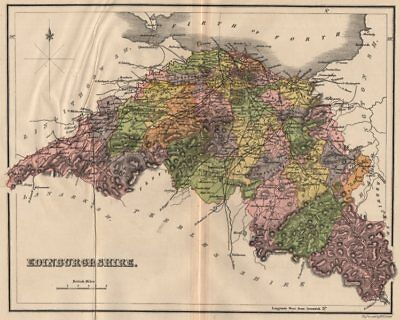 "MIDLOTHIAN. ""Edinburgh Shire"" county map with parishes. Scotland. LIZARS 1885"