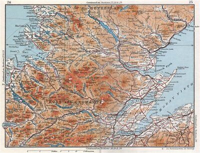 SCOTTISH HIGHLANDS. Ross & Cromarty Sutherland. Moray Firth. Vintage map 1967