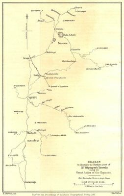 ECUADOR. Diagram showing Whymper's Travels in the Andes. RGS 1881 old map
