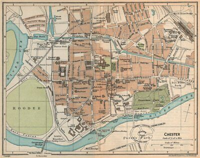 CHESTER. Vintage town city map plan. Cheshire 1926 old vintage chart