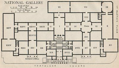 National Gallery London Map.National Gallery Vintage Map Plan London 1922 Old Vintage Chart