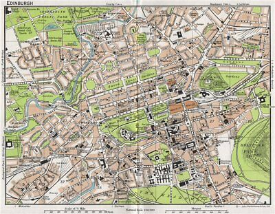 EDINBURGH. Vintage town city map plan. Scotland 1967 old vintage chart