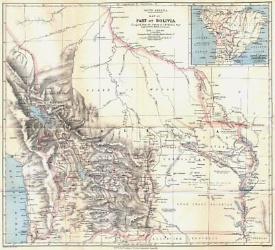 BOLIVIA. Pre War of the Pacific border changes. Surveyed Minchin. RGS 1881 map