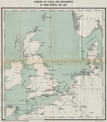 FIRST WORLD WAR.Sphere of Naval Air operations in home waters,1914-1916 1928 map