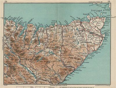 NW SCOTLAND. Sutherland & Caithness. Vintage map plan. Scotland 1932 old