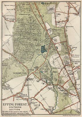 EPPING FOREST SOUTH. Chingford Hatch. Buckhurst Hill. Vintage map. Essex 1927