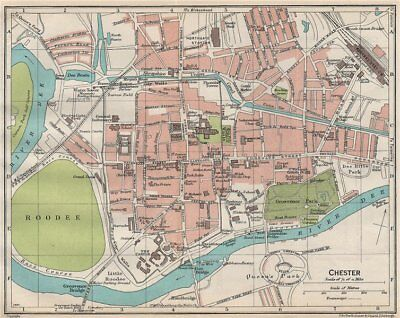CHESTER. Vintage town city map plan. Cheshire 1930 old vintage chart