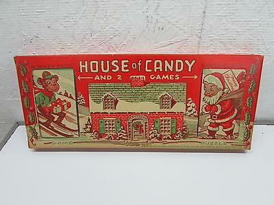 Vintage Christmas E Rosen House Of Candy & 2 Games IOB New Old Stock 1940's