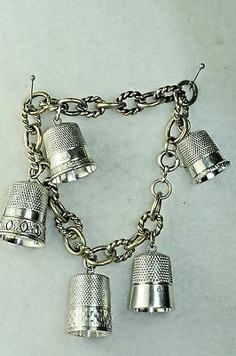 Victorian Antique Sterling Silver Thimble Charm Bracelet