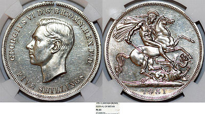 """Great Britain. V.I.P Issue of 1 Crown 1951 """"Festival of Britain"""". NGC PL63."""