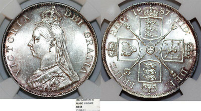"Great Britain. Queen Victoria (1837-1901) AR ""Jubilee"" 2 Florin 1887. NGC MS63"